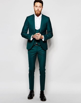 How to wear: black leather belt, black leather derby shoes, white dress shirt, teal three piece suit