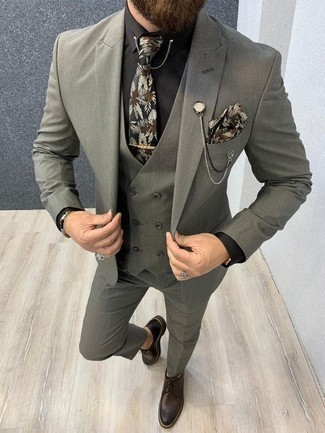 How to Wear a Black Dress Shirt For Men: Combining a black dress shirt with a grey three piece suit is a great idea for a classic and sophisticated ensemble. Bring a fresh twist to an otherwise standard look by finishing with dark brown leather derby shoes.