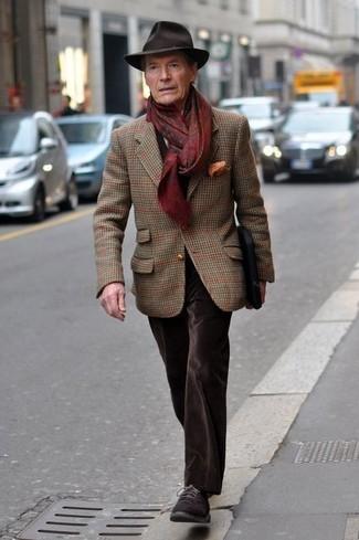 How to wear: dark brown wool hat, dark brown suede derby shoes, dark brown velvet jeans, brown plaid wool blazer