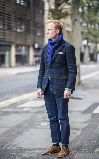 How to wear: orange pocket square, brown suede derby shoes, navy jeans, navy and green plaid blazer