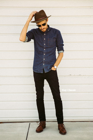 How To Wear Black Jeans With a Navy Denim Shirt In Your 30s In Summer For Men: Infuse new life into your current casual wardrobe with a navy denim shirt and black jeans. Shake up this look with brown leather derby shoes. No doubt, it's easier to work through a boiling hot summer afternoon in a breezy outfit such as this one.