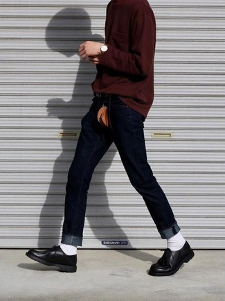 How to Wear White Socks For Men: Wear a burgundy long sleeve t-shirt and white socks if you're looking for a look option for when you want to look casually stylish. A trendy pair of black leather derby shoes is an effortless way to breathe a dash of sophistication into this outfit.