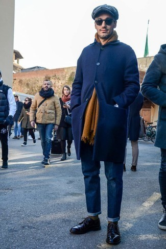 Fashion for Men Over 40: What To Wear: You'll be amazed at how easy it is for any gent to get dressed this way. Just a navy overcoat and navy jeans. Let's make a bit more effort now and introduce black leather derby shoes to your ensemble.