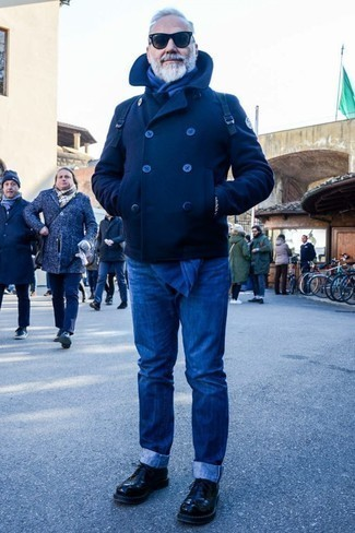 Fashion for Men Over 60: What To Wear: For casual elegance with an alpha male take, you can easily opt for a navy pea coat and blue jeans. To give your overall getup a smarter vibe, introduce black leather derby shoes to the equation.