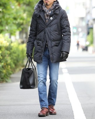 How to wear: black leather tote bag, red leather derby shoes, blue jeans, black puffer coat