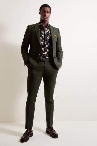 How to wear: mustard pocket square, burgundy leather derby shoes, black floral long sleeve shirt, dark green suit