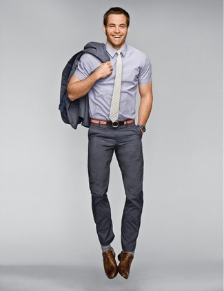 How to wear: grey vertical striped tie, brown leather derby shoes, grey short sleeve shirt, charcoal suit