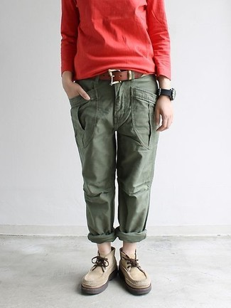 How to wear: brown leather belt, beige suede desert boots, olive cargo pants, red sweatshirt