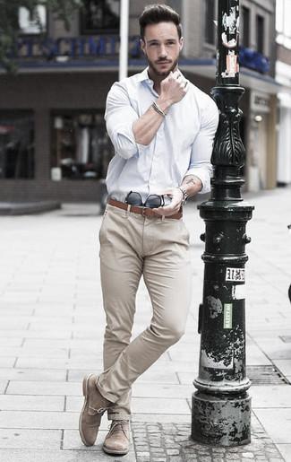 How to wear: brown leather belt, beige suede desert boots, beige chinos, white dress shirt