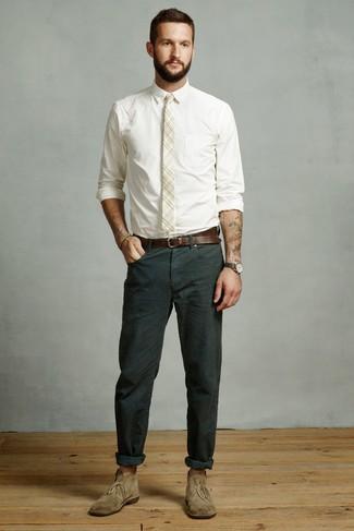 How to wear: beige plaid tie, olive suede desert boots, dark green chinos, white dress shirt