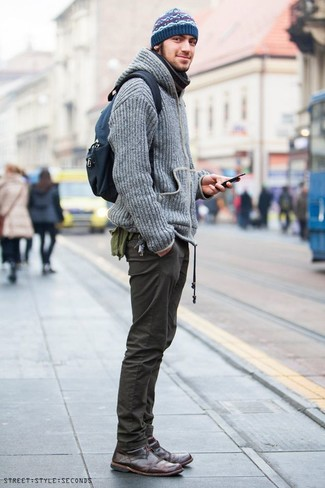 How to Wear a Navy Fair Isle Beanie For Men: A grey knit hoodie and a navy fair isle beanie are both versatile menswear staples that will integrate well within your day-to-day wardrobe. Dark brown leather desert boots are an effortless way to inject a hint of sophistication into your getup.