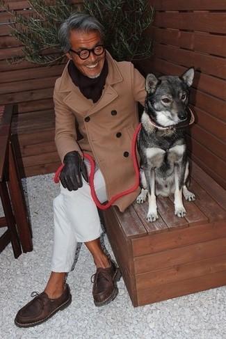 How to wear: dark brown scarf, dark brown leather desert boots, white chinos, camel overcoat