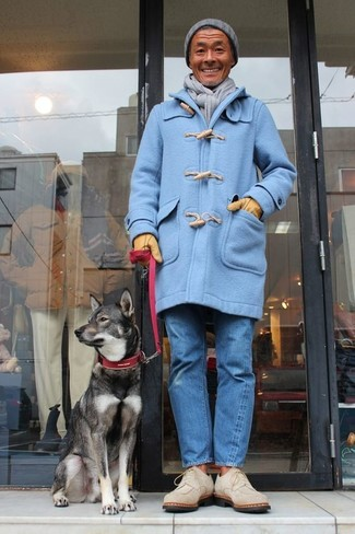 How to wear: grey beanie, beige suede desert boots, blue jeans, light blue duffle coat