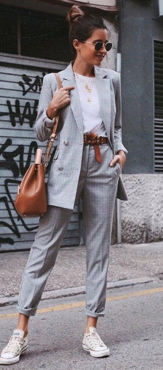 Women's Grey Check Double Breasted Blazer, White Crew-neck T-shirt, Grey Plaid Dress Pants, White Low Top Sneakers
