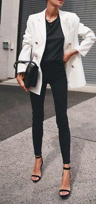 How to wear: white double breasted blazer, black crew-neck t-shirt, black skinny jeans, black suede heeled sandals