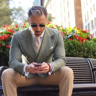 How to wear: mint double breasted blazer, beige dress pants, beige tie, white pocket square