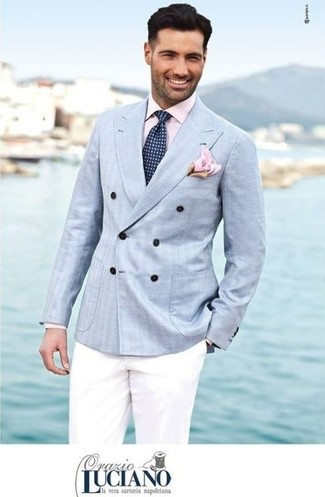 How to wear: light blue double breasted blazer, pink dress shirt, white chinos, navy and white polka dot tie