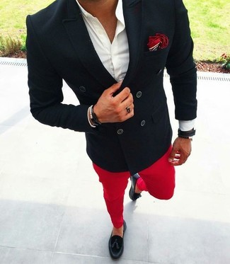 How to wear: black double breasted blazer, white dress shirt, red chinos, black leather tassel loafers
