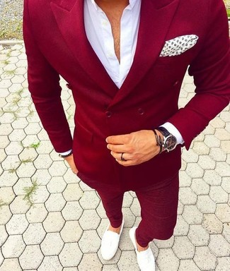 How to wear: red double breasted blazer, white dress shirt, red chinos, white leather loafers