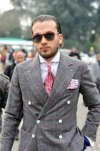 How to wear: grey plaid double breasted blazer, white dress shirt, navy dress pants, red paisley tie