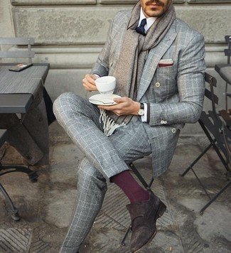 How to wear: grey check double breasted blazer, white dress shirt, grey check wool dress pants, dark brown suede double monks