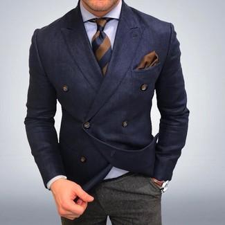 Men's Navy Double Breasted Blazer, White Dress Shirt, Grey Wool Dress Pants, Brown Vertical Striped Tie