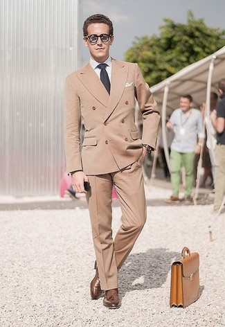 How to wear: tan double breasted blazer, white dress shirt, khaki dress pants, brown leather tassel loafers