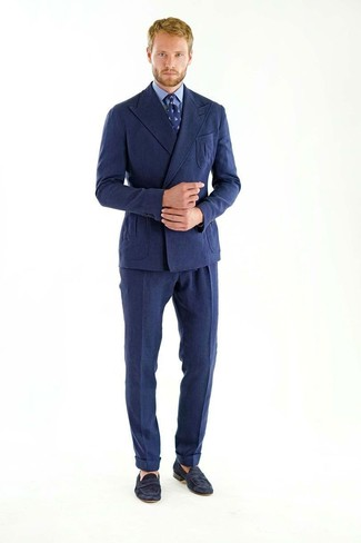 How to wear: navy wool double breasted blazer, blue dress shirt, navy wool dress pants, black suede loafers