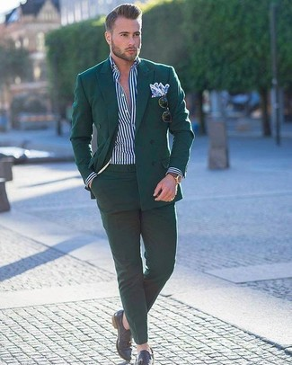 How to wear: dark green double breasted blazer, white and navy vertical striped dress shirt, dark green dress pants, black leather tassel loafers