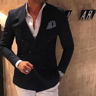 A modern man's sophisticated closet should always include such stylish essentials as a Comme des Garcons men's Comme Des Garons Shirt Double Breasted Blazer and white dress pants. This combo is the definition of perfect for hot days.