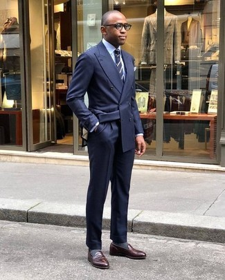 How to wear: navy double breasted blazer, light blue dress shirt, navy dress pants, dark brown leather loafers