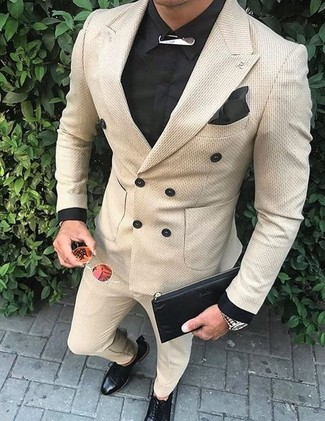 How to wear: beige double breasted blazer, black dress shirt, beige dress pants, black leather derby shoes