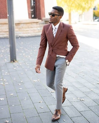 How to wear: tobacco double breasted blazer, white dress shirt, grey dress pants, brown leather derby shoes