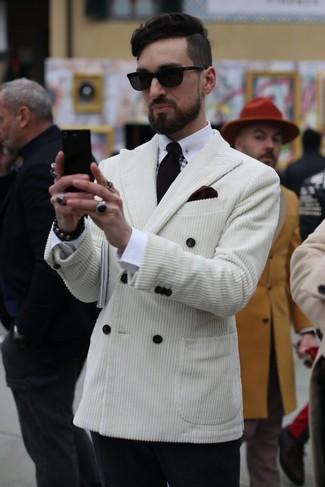 How to wear: white corduroy double breasted blazer, white dress shirt, black wool dress pants, black tie