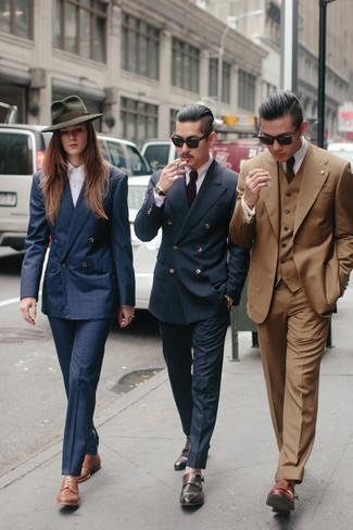 How to wear: navy plaid double breasted blazer, violet dress shirt, navy dress pants, brown leather double monks