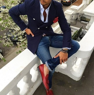 How to wear: navy vertical striped double breasted blazer, white dress shirt, blue jeans, red leather tassel loafers