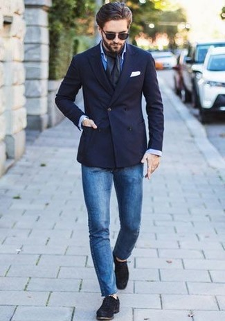 How to wear: navy double breasted blazer, blue dress shirt, blue skinny jeans, black suede derby shoes