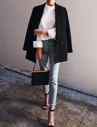 How to wear: black double breasted blazer, white long sleeve blouse, light blue jeans, black suede heeled sandals