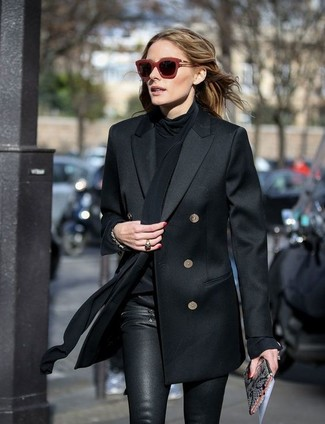 Olivia Palermo wearing Black Double Breasted Blazer, Black Silk Long Sleeve Blouse, Black Leather Skinny Pants, Grey Snake Leather Clutch