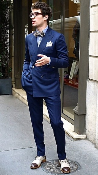 How to wear: navy double breasted blazer, light blue seersucker long sleeve shirt, navy dress pants, beige leather derby shoes