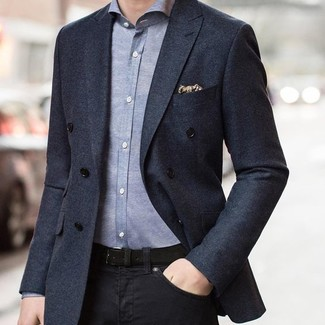 How to wear: charcoal double breasted blazer, grey chambray long sleeve shirt, black jeans, beige print pocket square