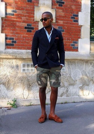 How to wear: navy double breasted blazer, light blue long sleeve shirt, olive camouflage shorts, tobacco suede tassel loafers