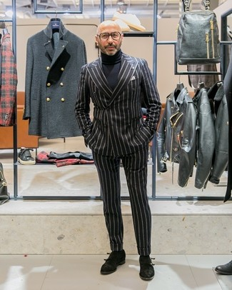 How to wear: black vertical striped double breasted blazer, black turtleneck, black vertical striped dress pants, black suede double monks