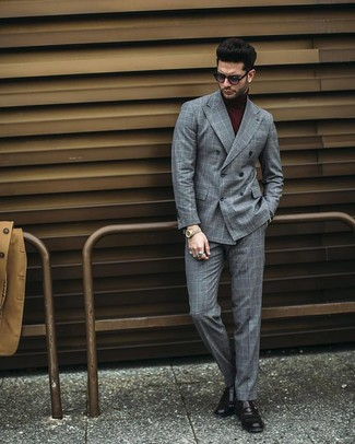 How to wear: grey check double breasted blazer, burgundy turtleneck, grey check dress pants, black leather monks