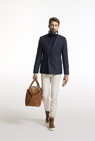 How to wear: navy wool double breasted blazer, navy turtleneck, white long sleeve shirt, beige chinos