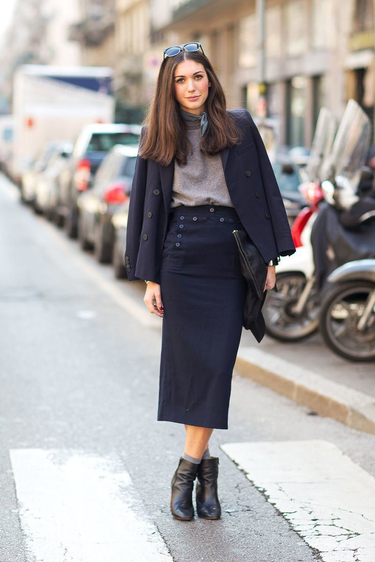 Black leather midi skirt outfit – Modern skirts blog for you