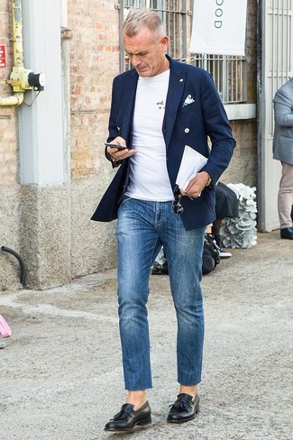 How to wear: navy double breasted blazer, black waistcoat, white crew-neck t-shirt, blue jeans