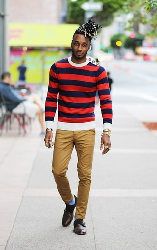 How to wear: gold watch, dark brown leather double monks, khaki chinos, white and red and navy horizontal striped crew-neck sweater
