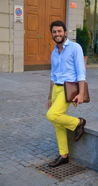 How to wear: brown leather zip pouch, dark brown leather double monks, yellow chinos, light blue dress shirt