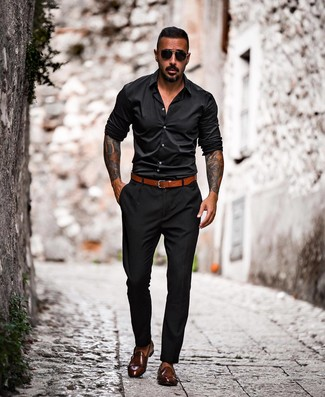How to wear: tobacco leather belt, dark brown leather double monks, black chinos, black long sleeve shirt